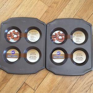 Lot of 2 Wilton 4 Cavity Mini Pie Pans